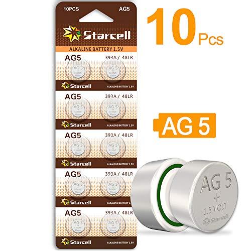 Starcell 10-teilige 1,55-V-Knopf-Knopfzellen-Batterie-Batterien AG5 AG-5 LR750 LR754W