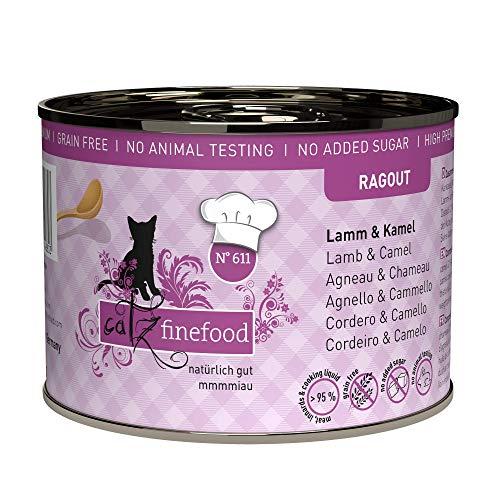 catz finefood Ragout N° 611 Lamm & Kamel Katzenfutter nass - Feinkost Nassfutter für Katzen in Sauce ohne Getreide und Zucker mit hohem Fleischanteil, 6 x 180 g Dose