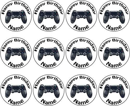 PS4 Gaming Controller 24 Personalisierte Vorgeschnittene Kreise - Essbare Cupcake Aufleger / Geburtstagskuchen Dekorationen