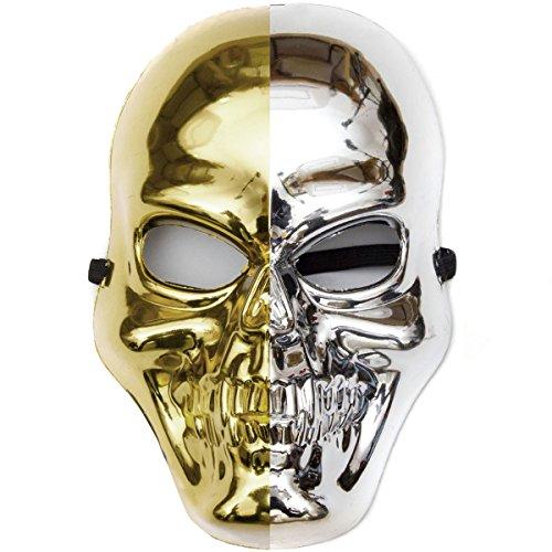 GOODS+GADGETS Glänzende Skelett Maske in Gold & Silber Gevatter Tod Halloween Skelettmaske - Goldene Skull Mask