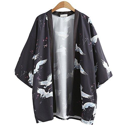 Japanische Kimono Jacke Robe - Traditionelle Klassische Haori Kleidung Tokio Harajuku Antike Stile Floral Geblümte Lockere Jacke Robe Kostüm Bademantel Nachtwäsche für Frauen Männer Mädchen (Schwarz)