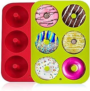 Lot de 2 moules à donuts en silicone, 6 cavités antiadhésifs, en silicone, pour muffins, bagels, biscuits, gâteaux, rouge ...