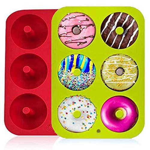 Lot de 2 moules à donuts en silicone antiadhésif à 6 trous pour muffins, bagels, biscuits, gâteaux Rouge/vert
