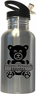 Custom Image Factory Happy Birthday Emanuel Stainless Steel Water Bottle Straw Top