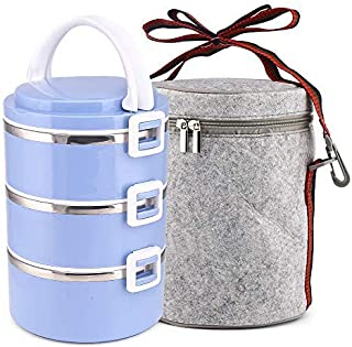 Lunch Box, XINGBAO Leakproof Lunch Container Bento Box Food Storage Box with Lunch Bag for Office School Camping, 3-Tier (Blue)