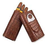 AMANCY 3 Holder Elegant Vintage Style Crocodile Pattern Leather Cigar Case with Cedar Wood Lined,Including Cigar Cutter