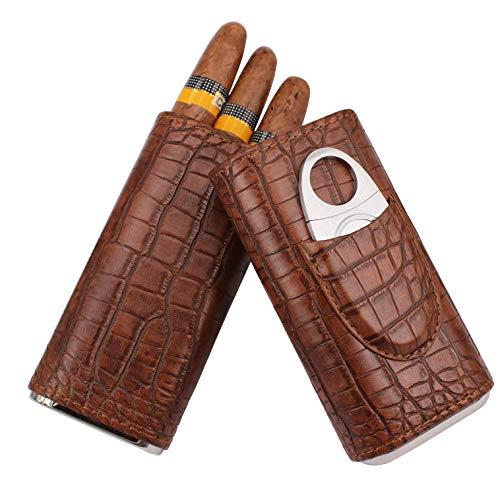 AMANCY 3 Holder Elegant Vintage Style Crocodile Pattern Leather Cigar Case with Cedar Wood Lined