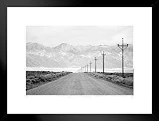 Poster Foundry Lone Road Power Lines Leading to San Juan Mountain Range Black and White Photo Matted Framed Wall Art Print 26x20 inch