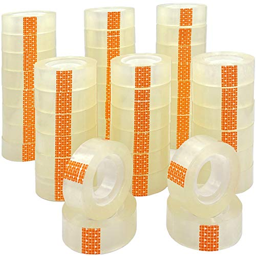 ZCENTER- Cinta adhesiva 48 cintas, 18 mm x 35 m, Celo adhesiva transparente