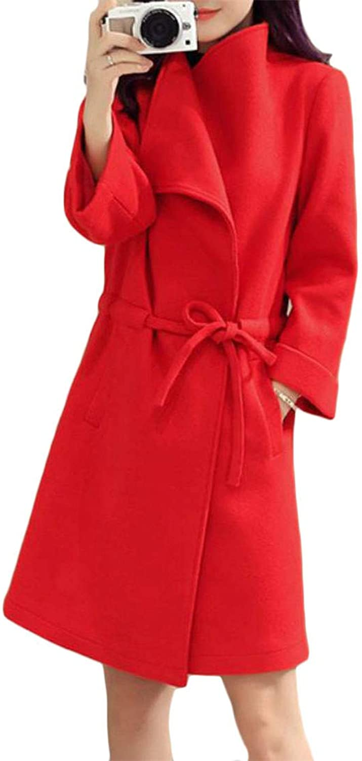 Pandapang Womens Plus Size Lapel Wool Blended Overcoat Winter Belt Trench Coat