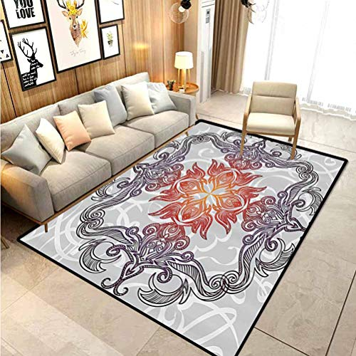 Floral Outdoor Rugs for patios Outdoor Area Rug Antique Arabic Ornament Design Oriental Damask Flowers Geometric Motif Pattern Print Carpet for Living Room Multicolor 3 x 5 Ft