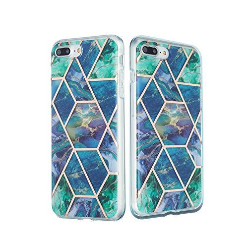 ChoosEU Compatible con Funda iPhone 7 / iPhone 8 / SE 2020 Silicona Dibujos Mármol Creativa Carcasas para Chicas Mujer Hombres, TPU Case Antigolpes Bumper Cover Caso Protección - Verde Oscuro