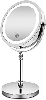 AMZTOLIFE 化粧鏡 10倍 拡大鏡 付き led ミラー LED 両面 鏡 卓上 スタンドミラー メイク 3 WAY給電 曇らないミラー 360度回転 北欧風 電池&USB 日本語取扱説明書付き (改良版)