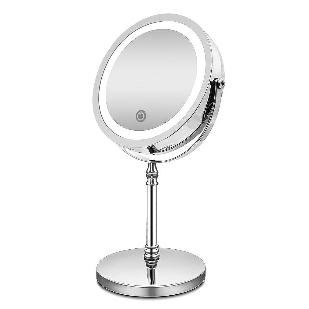 化粧鏡 10倍 拡大鏡 付き led ミラー LED 両面 鏡 卓上 スタンドミラー メイク 3 WAY給電 曇らないミラー 360度回転 北欧風 電池&USB 日本語取扱説明書付き (改良版)
