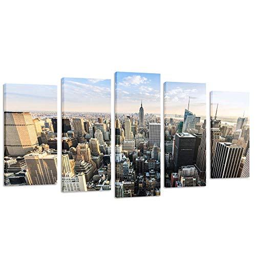 Kreative Arts Gallery Wrap Canvas Print New York Cityscape Empire States Building Split 5 Panel Canvas Wall Art for Living Room Large Size Canvas Artwork Ready to Hang (60''x32'')