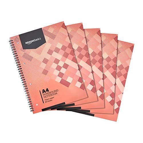 Amazon Basics - Quaderno con rilegatura a spirale, 160 pagine, formato A4, 70 g/m², (confezione da 5)