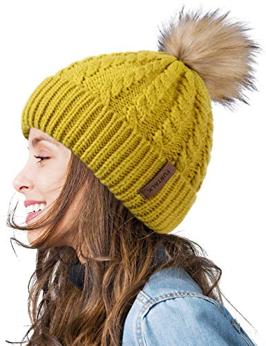 FURTALK Winter Beanie Hat for Women Warm Thick Cotton Lining Knit Bobble Skull Cap Fur Pom Pom Hats for Women