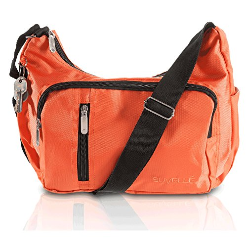 Suvelle Lightweight Slouch Travel Everyday Crossbody Bag Multi Pocket Shoulder Handbag 2054