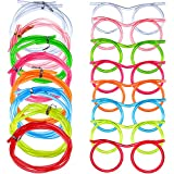 8 Pieces Silly Straw Glasses Eyeglasses Straws Eyeglasses Crazy Fun Loop Straws Novelty Drinking Eyeglasses Straw for Annual Meeting, Fun Parties, Birthday, Assorted Colors
