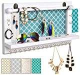 VIEFIN Upgrade Wall Mounted Mesh Jewelry Organizer White,Rustic Wood Jewelry Display Organizer Earring Necklace Holder with Shelf and Hooks,Wall Jewelry Hanger with Removable Rod for Bracelet