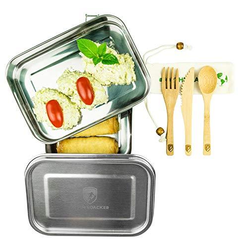 Alpin Loacker 2 Layer Edelstahl Lunchbox 3 teilig mit Auslaufsicherem Deckel und Besteck (1960ml)