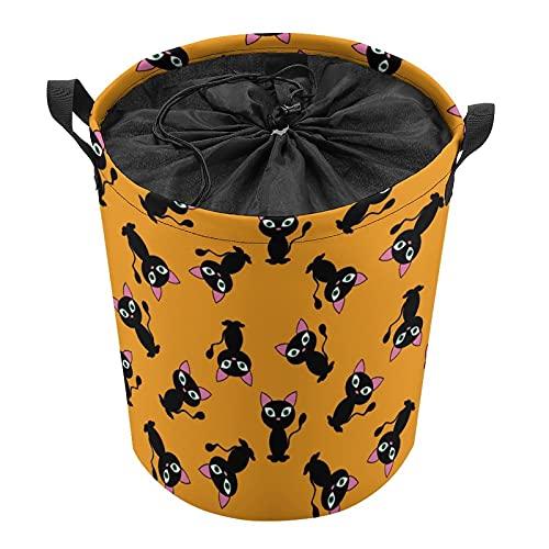 Cubo de almacenamiento impermeable grande organizador ligero cesta para la colada, cubos de juguete, cestas de regalo, ropa sucia, dormitorio de los niños, cuarto de baño, gato negro