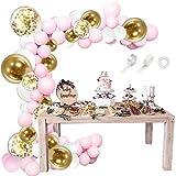 祝い風船 ピンク バルーンアーチ 可愛い 115個 紙吹雪風船付き リボン クリップ テープ付き wuernine ピンク 白 金色 バルーン 誕生日 イベント 女子会 パーティーなど用 飾り付け