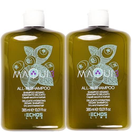 Echosline Maqui - Champú vegano hidratante con ingredientes naturales – Champú para cabello seco o tratado vegano con certificación Ecocert (DUE)