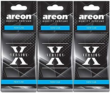 AREON X Ambientador Coche Olor Nuevo New Car Colgante Colgar Perfume Original Negro Cartón Retrovisor Casa Oficina 2D (Pack de 3)