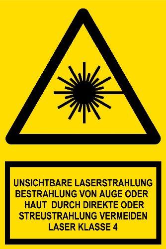 Warnschild aus Folie - Unsichtbare Laserstrahlung Bestrahlung von Auge oder Haut durch direkte oder Streustrahlung vermeiden Laser Klasse 4 -- 20 x 30 cm