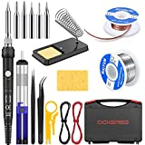 Soldering Iron Kit Electronics, 60W Adjustable Temperature Welding Tool, with ON/Off Switch, 5pcs Soldering Iron Tips, Solder Wire, Desoldering Pump, Wick, Soldering Stand, Tweezers [110V, US Plug]