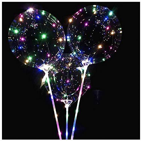 COM-FOUR® 2 LED verlichte ballonnen met vasthoudstaven, geschikt voor helium, met batterijen