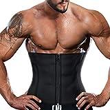 RACELO Mens Sauna Waist Trainer Corset Belly Fat Loss Sweat Workout Trimmer Belt Back Support (Black Waist Cincher, 2XL)