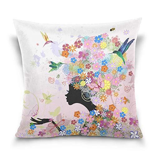 45x45cm Funda Throw Pillow Case Almohada Cojín Niña Ave Mariposa Abeja Flor Fundas colchón Cojines Decorativa Cuadrado sofá