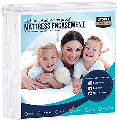 Utopia Bedding Zippered Mattress Encasement - Waterproof Mattress Protector (Queen)