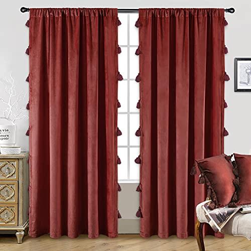 DriftAway Boho Velvet Tassel Curtain Room Darkening Thermal Insulated Window Curtain Rod Pocket 2 Panels 50 Inch by 84 Inch Red Ochre