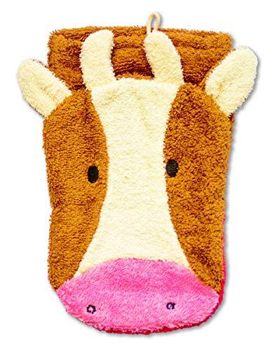 Fürnis 568 - Waschhandschuh Kuh, creme/braun/rosa, Erwachsenengröße, Bio-Baumwolle, Waschtier, Waschlappen