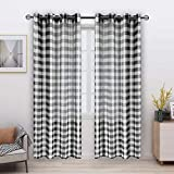 FLOWEROOM Buffalo Plaid Sheer Curtains for Living Room/Bedroom, Black-White, 52 x 84 Inch Long – Light Filtering and Privacy Checkered Curtain, Grommet Semi Sheer Voile, Set of 2 Panels