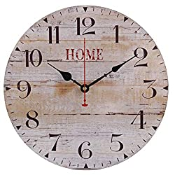 Old Oak 14-Inch Rustic Silent Non-Ticking Farmhouse Style Decorative Wall Clock with Arabic Numerals