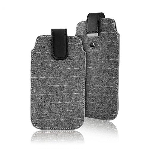 """Preisvergleich Produktbild Handytasche grau geeignet für """"Samsung Galaxy S7 Edge"""" Handy Schutz Hülle Slim Case Cover Etui mit Auszugband schwarz"""