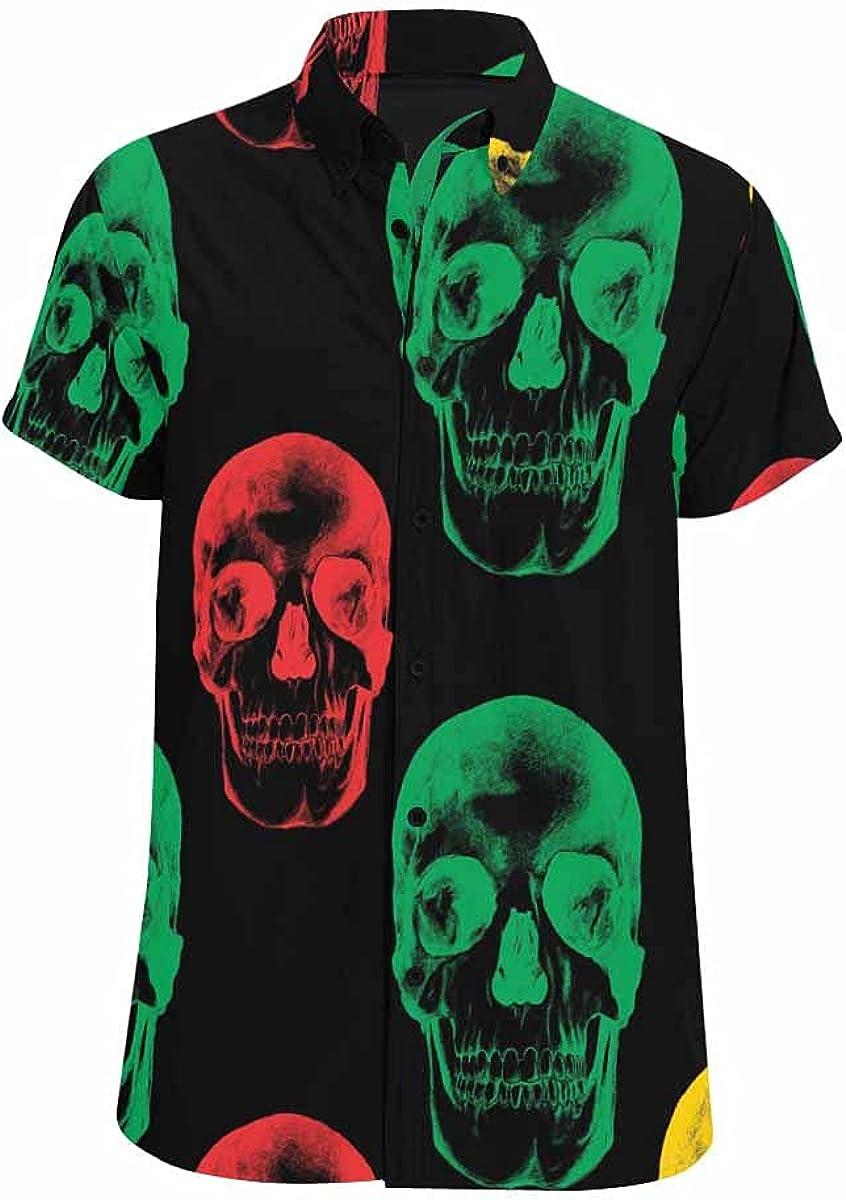 InterestPrint Human Skulls Button Down Printed Casual Shirt Spread Collar Tops for Men