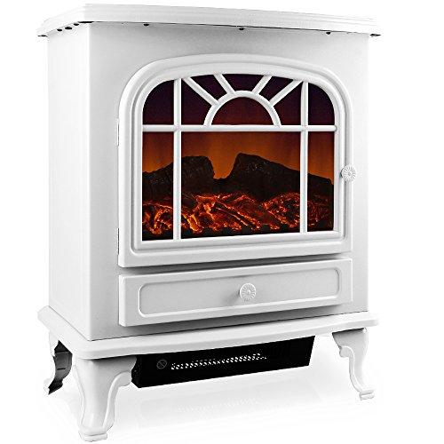 Elektrokamin Elektrischer Kamin mit Heizung LED Kaminfeuer Effekt Heizer Ofen I 2000W I 60 x 28 x 50cm I weiß E Kamin