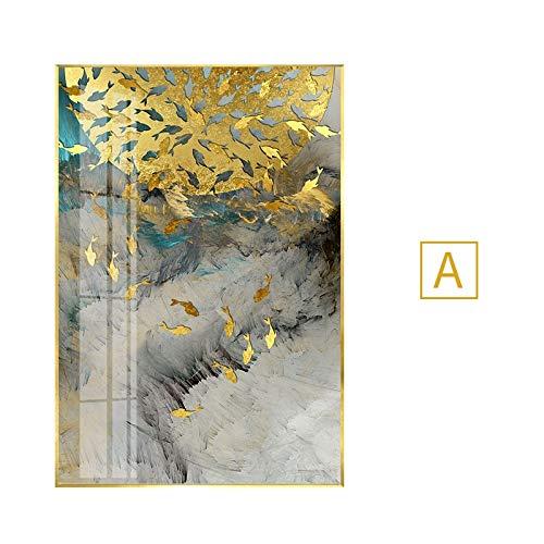 Abstracte gouden vogelsTableaux Big terWall Art voor woonkamer inganggangpad Salon decoracion50x70cm