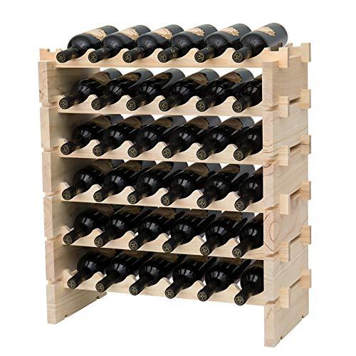 fdjamy Wine Rack Solid Wood Stackable Storage Wooden Wine Rack Wine Cabinet (36, Natural Color)