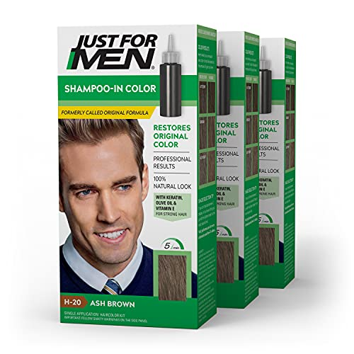 Just For Men Shampoo-In Color (Formerly Original Formula), Gray Hair Coloring for Men, With Keratin and Vitamin E for Stronger Hair - Ash Brown, H-20, 3 Pack (Packaging May Vary)