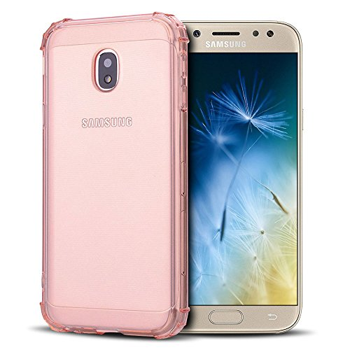 Anfire Funda para Samsung Galaxy J7 2017, Silicona Case de Suave y Transparente Carcasa Flexible Gel TPU, [Esquinas Reforzadas] Bumper Caja Fundas Claro Blando Caso Cubierta Trasero - Oro Rosa