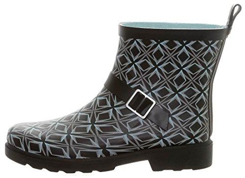 Capelli New York Ladies Owl Printed Short Rain Boot Black Combo 8