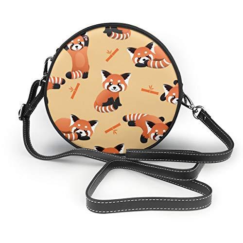 Sacs à bandoulière Sac rond rond en cuir à bandoulière en bambou avec panda rouge et bambou
