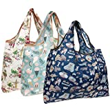 Wrapables Eco-Friendly Large Nylon Reusable Shopping Bags (Set of 3), Dogs & Treats
