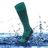 SuMade 100% Waterproof Breathable Socks for Women, Thermal Winter Socks Cold Weather Skiing Snowboarding Skating Socks Knee High Cushioned Cycling Hiking Running Fishing Socks 1 Pair (Green, Small)